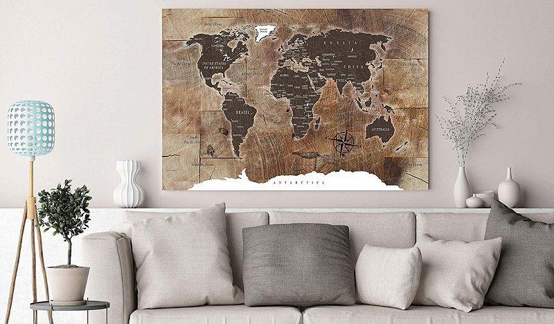cuadro mapa mundi pared vintage