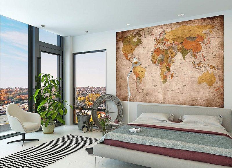 poster vintage mapa del mundo