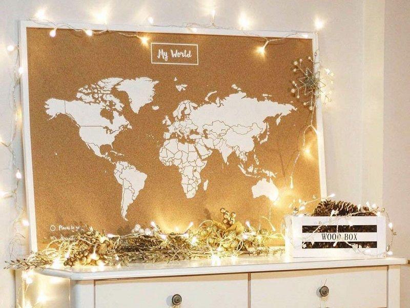 mapa mundo corcho decoracion