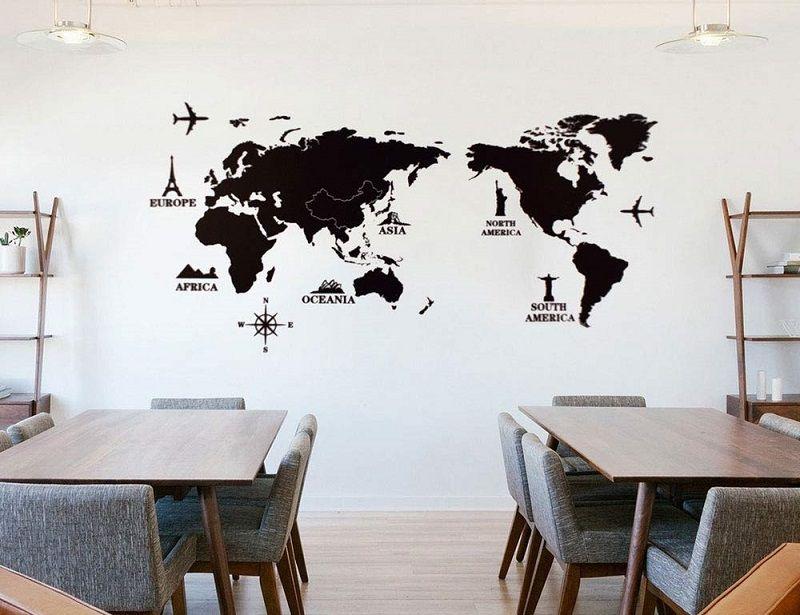 vinilo decoracion mapa mundi negro
